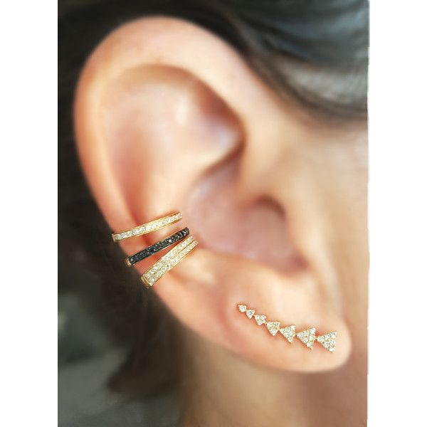 Half Double Row Diamond Gold Ear Cuff ❤ liked on Polyvore featuring jewelry, ear cuff jewelry, diamond ear cuff, white jewelry, gold ear cuff and 14k gold jewelry