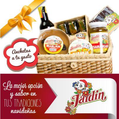 Anchetas con variedades típicas colombianas: manjar, brevas  y otras delicias.