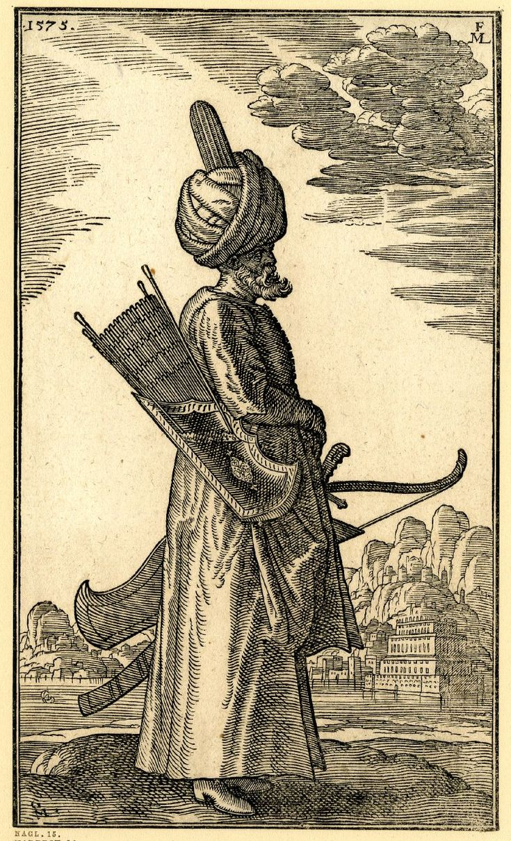 A bearded archer. Ottoman Soldiers from contemporary European Illustrations by Melchior Lorck, 1570-83