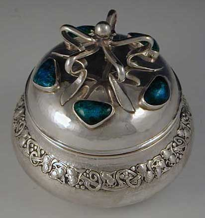 Ramsden & Carr Arts & Crafts Sterling Silver & Enamel Box