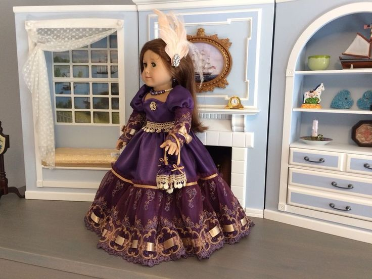 "VICTORIAN PURPLE DRESS & ACCESSORIES FOR 18"" AMERICAN GIRL DOLL, FELICITY #SataHaykushDesigns #ClothingShoes"
