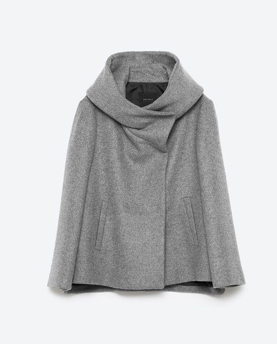 Image 8 of SHORT COAT WITH WRAPAROUND COLLAR from Zara