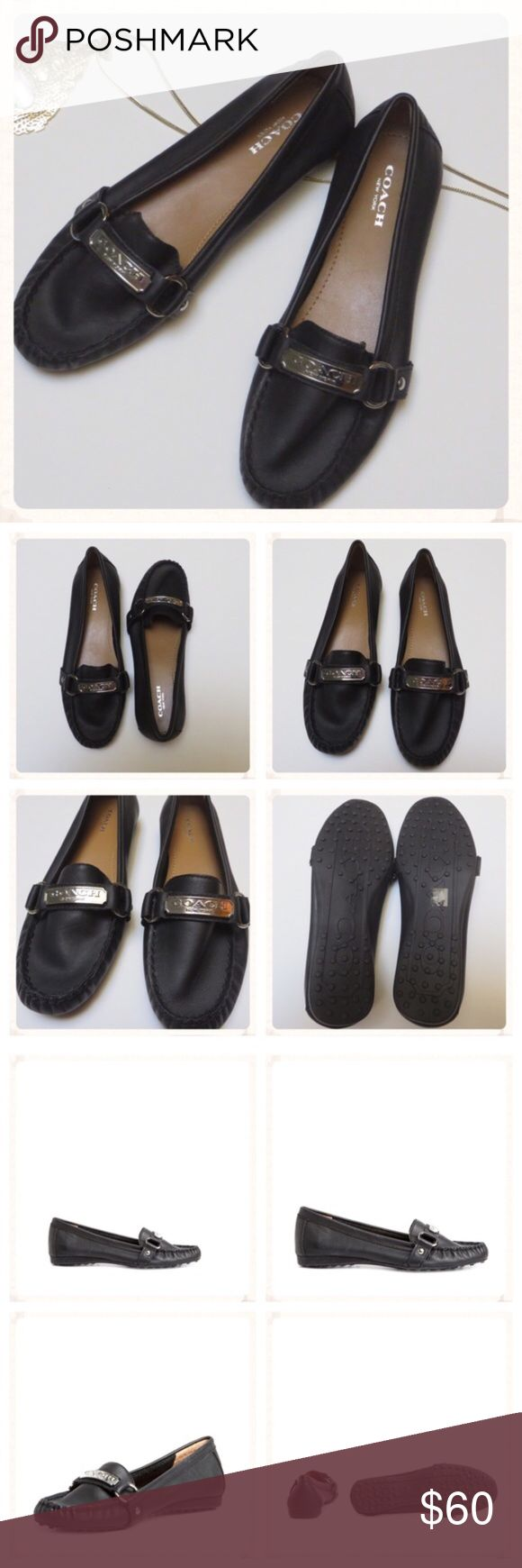 ! EUC Coach Felisha Driving Loafers - Black EUC Coach Felisha Driving Loafers.  The classic driving moc gets a plush update with pretty, silver polished hardware and a distinctive pod sole. Leather or suede upper. Slip-on construction. Leather lining. Lightly cushioned footbed. No box.  NO TRADES! Coach Shoes Flats & Loafers