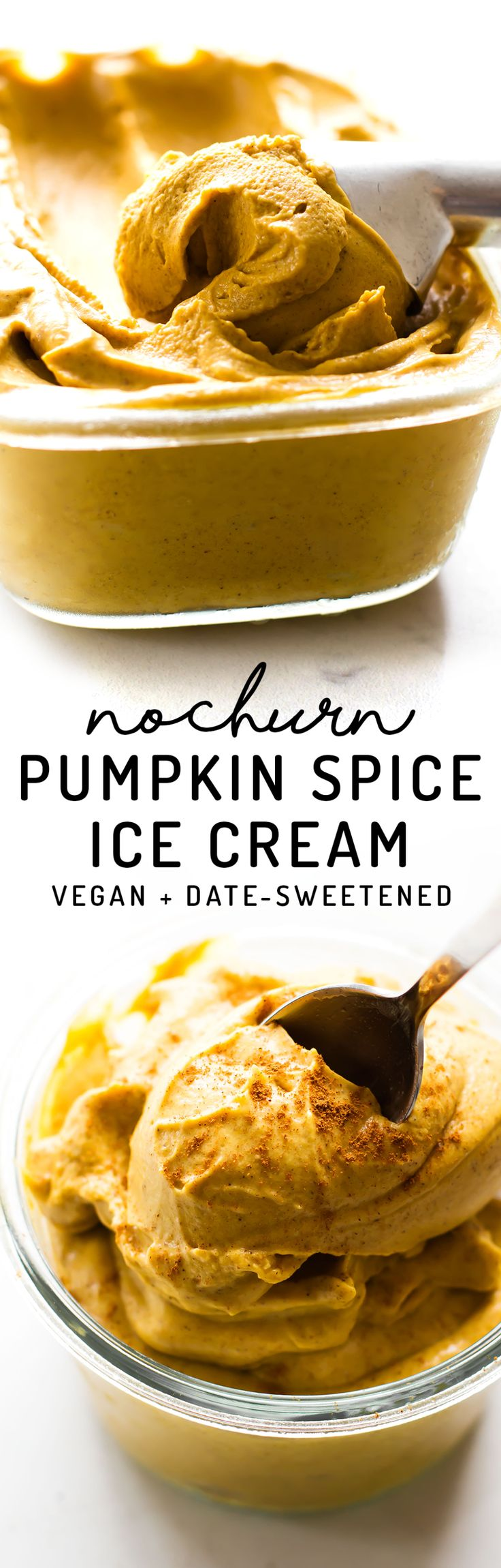 Join the fall craze with a cold creamy twist! This healthy Pumpkin Spice Ice Cream is vegan + paleo made with 4 simple ingredients and no refined sugar.