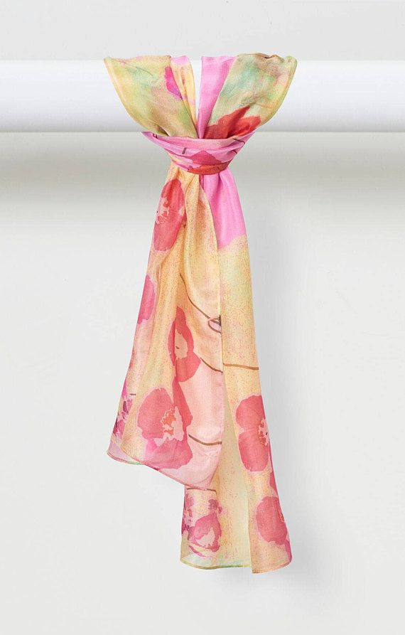 Sea of Poppies Pure Silk Habotai Scarf was inspired by vibrant spring poppies that greet you on your morning stroll. These fashion scarves are the perfect accessory. Wear them as stunning evening wraps for that special occasion or all day for a unique burst of color in any ensemble. The