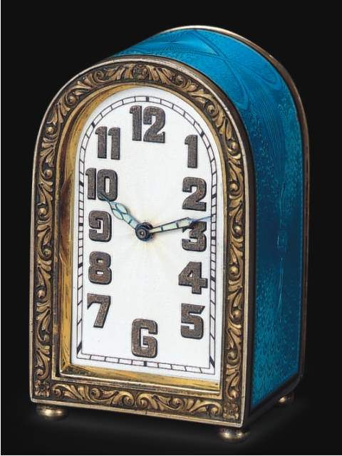Antique Concord Watch Company Clock | Fine sterling silver and enamel eight day-going, small domed desk clock with original leatherfitted box. Wegelin Fils, Lyon et Geneve, circa 1925.