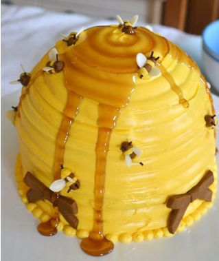 """Bee hive cake for """"meant to bee"""" baby shower"""