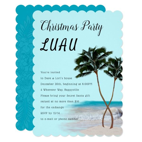 Palm Trees Christmas Luau Party Invitation Customizable Gifts #beach #summer #party #invitation
