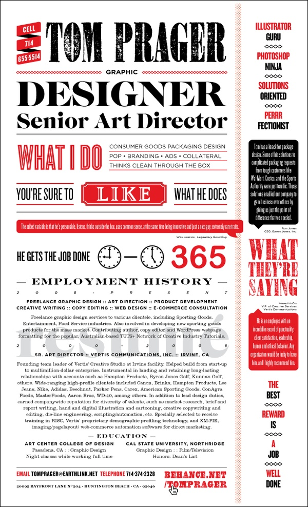resume as wanted poster by tom prager  via behance