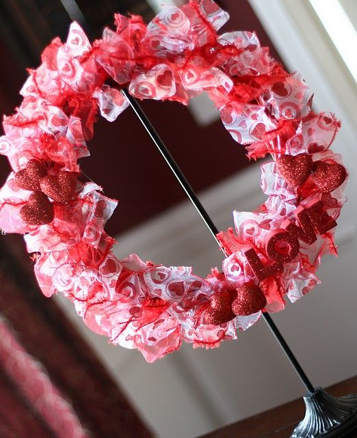 valentines day ribbon wreathValentine Crafts, Holiday Wreaths, Dollar Trees, Dollar Stores, Ribbons Wreaths, Diy Accessories, Easter Wreaths, Valentine Wreaths, Ribbon Wreaths