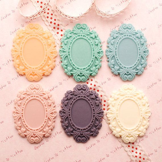 Kawaii English Fancy Cameo/Cabochon Settings Set by SophieToffeeCo, $7.80