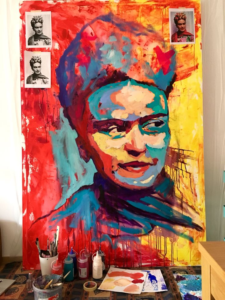 Frida Kahlo 220x150cm Acrylic on Canvas | In progress by ...