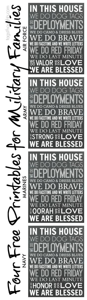 "Four Free Printables for Military Families ~ ""In This House, We do...."""