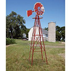 8ft. Ornamental Garden Windmill – Red and White