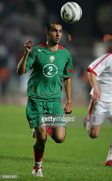 Hoalid Regragui of Morocco is seen in action during the World Cup 2006 African group 5 qualifying soccer match between Tunisia and Morocco at the...