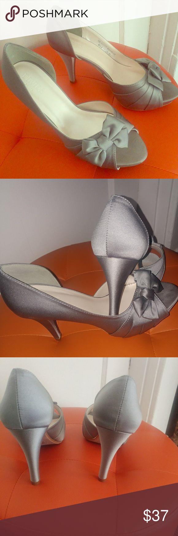 Peep toe 3in heel Satin finish 3 inch heel with peep toe David's Bridal Shoes Heels