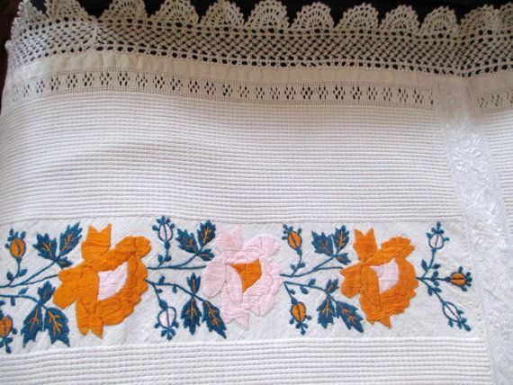 Vintage hand embroidered hungarian table by vintagelinenbroidery, $60.00