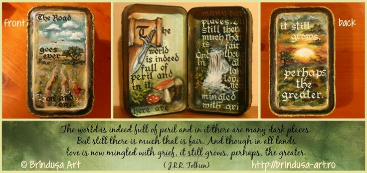 After-shave tin, now painted inside & out in acrylics. The text - written by…