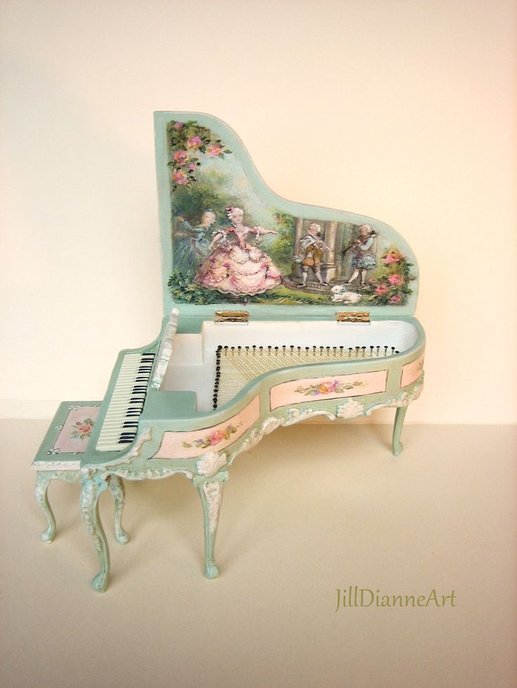 French Hand-painted Grand Piano and Stool 1:12 Ballet
