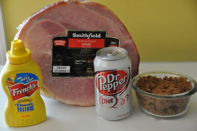 Baked Ham with Easy Glaze  1 (approx 8-lb.) smoked, ready-to-cook, bone-in ham  1 cup packed brown sugar (light or dark, whatever you have)  2 tablespoons coke (or your favorite carbonated drink. I am using Diet Dr Pepper)  1 tablespoon yellow mustard
