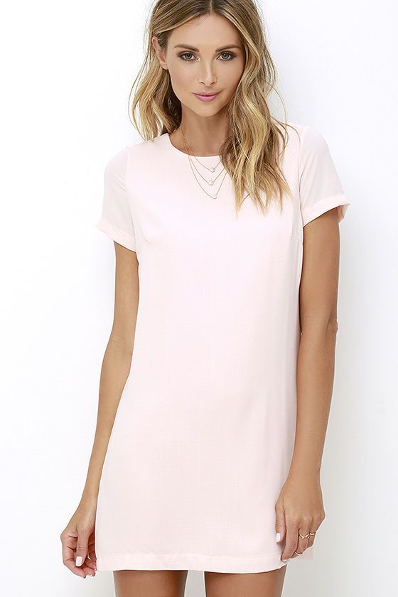 Shift and Shout Blush Pink Shift Dress at Lulus.com.  Great with gladiators or lace-up shoes