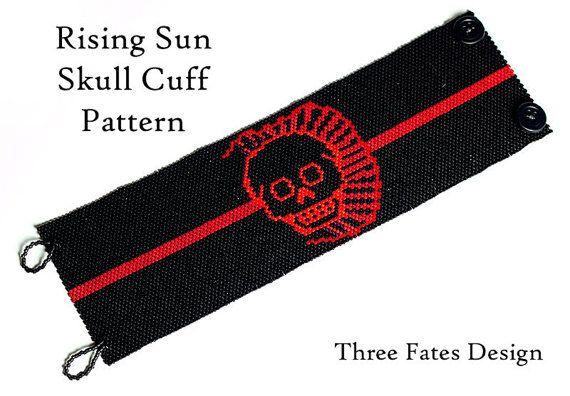 Peyote Cuff Pattern // Rising Sun Skull Design // Gourd Stitch