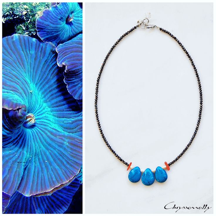 JEWELRY | Chryssomally || Art & Fashion Designer - Minimal statement necklace, inspired by bright blue sea creatures, with blue howlite, corals, pearls and crystals.