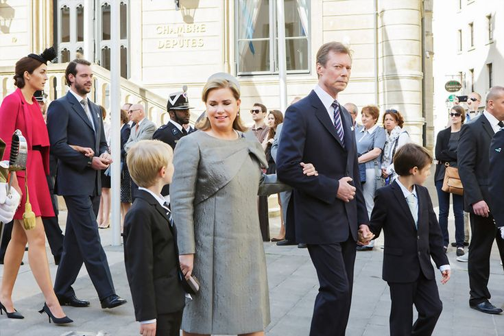 Grand Duke Henri and Grand Duchess Maria Teresa with their grandson Prince Gabriel and Prince Noah: Octave May 2015