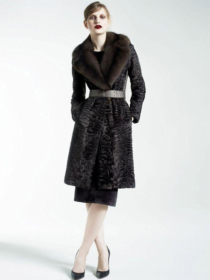 Yves Salomon Astrakhan coat with sable collar | Fur | Pinterest ...
