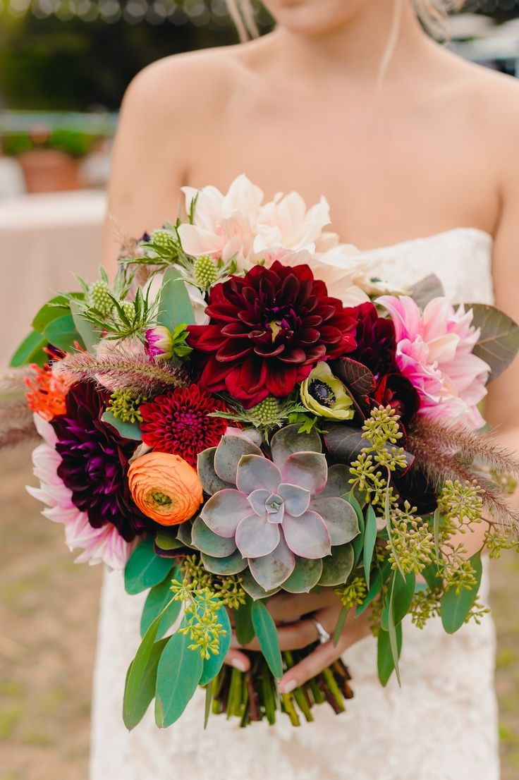 136 best succulent bouquets images on pinterest bridal bouquets loving this deep color palette for a bouquet with pops of warm tones bohemian wedding flowersfall dhlflorist Choice Image