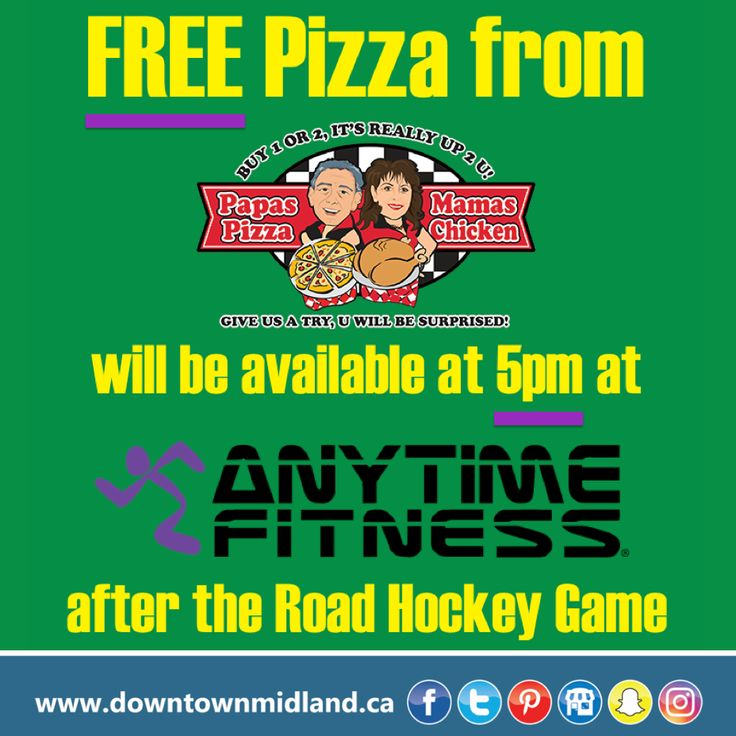 Papa's Pizza Mama's Chicken will be giving away FREE pizza at Anytime Fitness after our 5th Annual Downtown Midland Road Hockey Game on Friday, February 3rd, 2017 at 5pm.   www.facebook.com/events/1133141093407952  #DMRoadHockey2017