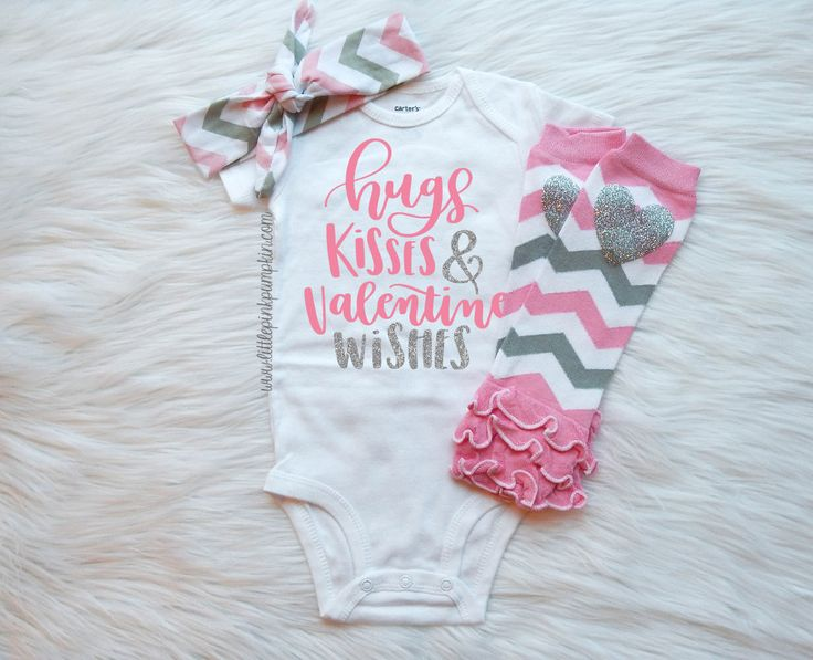 My First Valentine Outfit, Hugs Kisses and Valentine Wishes, Baby Girl Valentine Outfit, First Valentines Day, Baby Valentines Day Outfit by LittlePinkPumpkin on Etsy