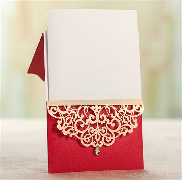 Cartão de casamento indiano, Corte a laser convites de casamento, Real vermelho do convite cartões para decoração de casamento