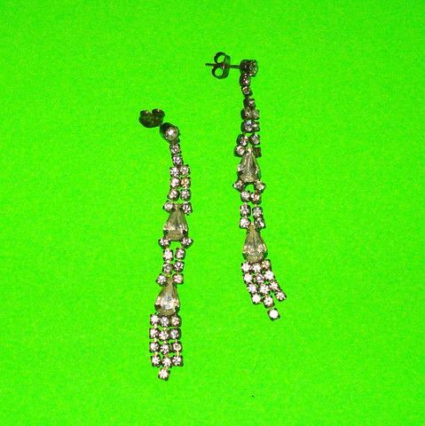 Rhinestone Dangle Earrings - Mookie Designs Vintage