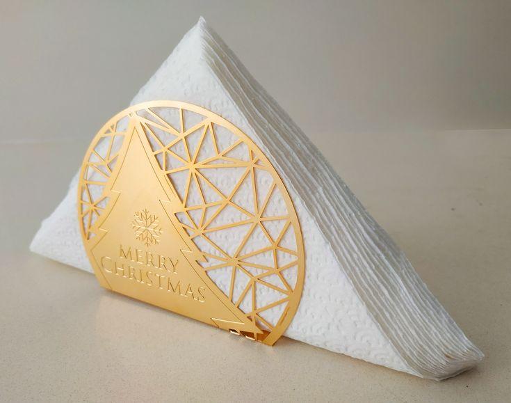 Gold Napkin Holder, Handmade Napkin Holder, Metal Napkin Holder, Christmas Napkin Holder, Christmas Gift, Unique napkin, kitchen accessory