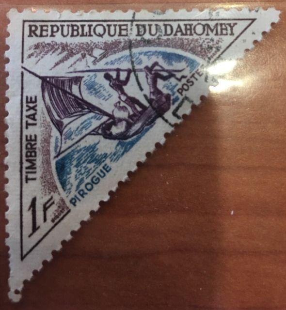 Republique Du Dahomey Timbre taxe 1f. Pirogue Postes. Vintage foreign stamp.   eBay