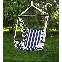 Accent your backyard with this deluxe hanging hammock swing.