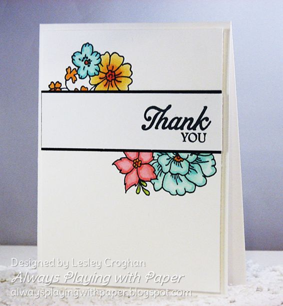 "Clean and simple sketch with stamp set ""I Like You"" ,Lesley Croghan"
