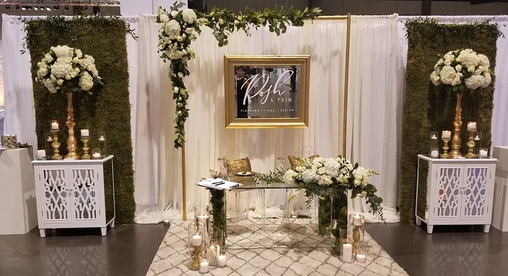 Bridal Show Booth Design - October 2016 - White with gold accents and greenery. Elegant yet mod.