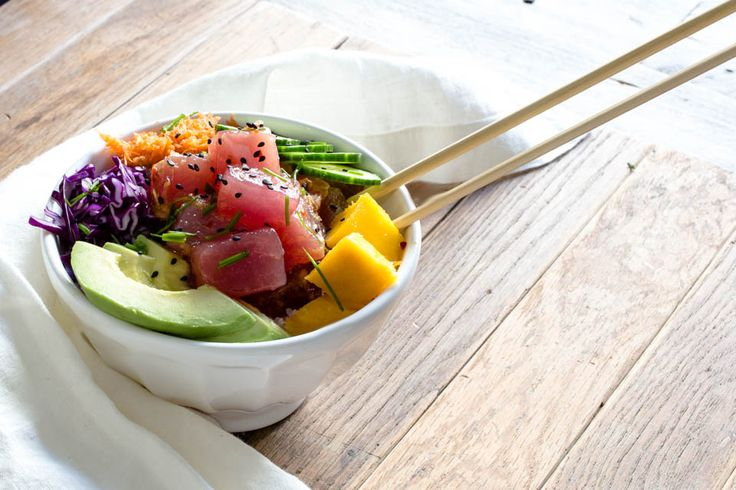 This Hawaiian Poke Bowl recipe is the ultimate one bowl feast! You can top yours off with toppings of your choice. Healthy, gluten free & delicious.