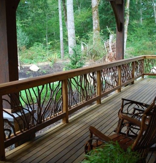 Rustic Porch Railing Ideas Check out many Deck Railing Ideas http://awoodrailing.com/2014/11/16/100s-of-deck-railing-ideas-designs/