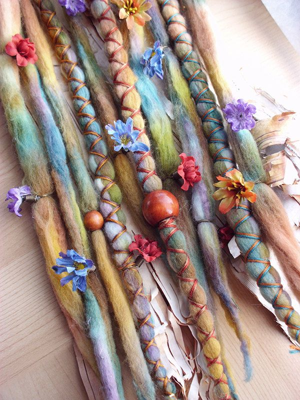 Flower Maiden Custom Order Tie-Dye Multi Color Wool Dreads with X-Cross Wrap & Beads Bohemian Hippie Dreadlocks Synthetic Boho Extensions.  via Etsy.
