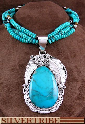 Tiger Eye And Turquoise Silver Native American Jewelry Pendant And Necklace Set NS55455