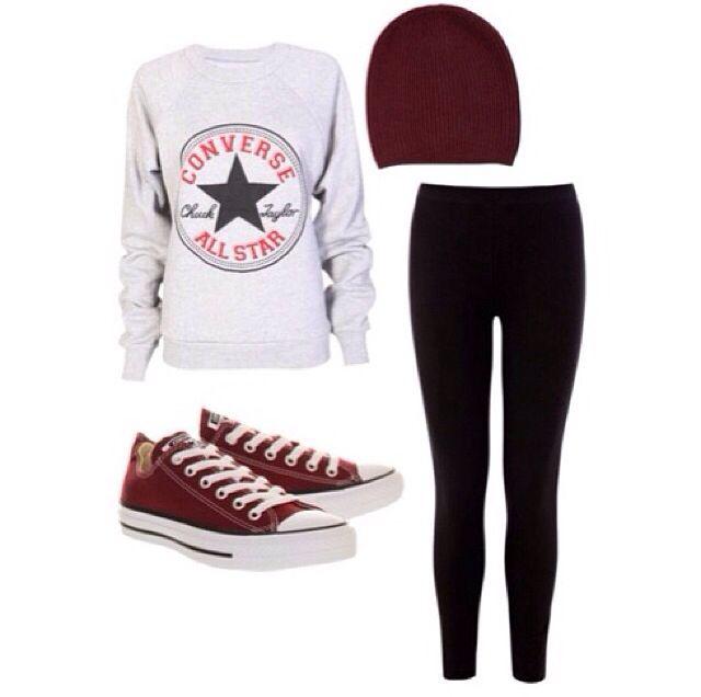 Black tights : #Converse sweater : Maroon beanie hat : Maroon converse sneakers
