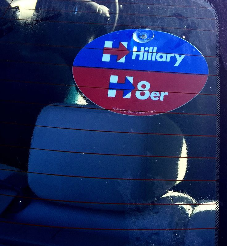 "Plastic Hanging Suction Cup Car Window Political Sign - ""HILLARY H8er (HATER)"" 4x6 Inch - OnBoardWith.com"