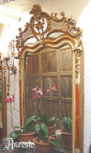 Antieke Franse spiegel uit de 19de eeuw Rococo : Rococo Franse spiegel, antiek uit de 19de eeuw   http://www.antiek-anresto.be/antiek/antieke_stukken/    Anresto Antiek Decor te Lommel (B)