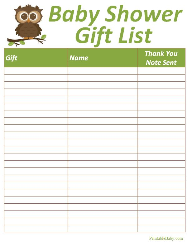 baby shower gift list baby showers shower ideas forward printable baby