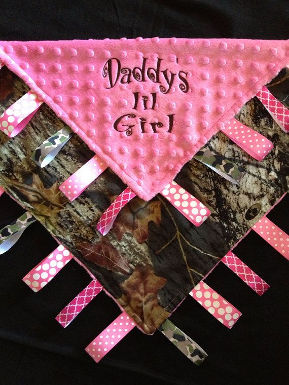 Pink Camo Baby Tag Security Blanket for Daddy's by Tanniesplace, $27.00 ...maybe get rid of the camo..