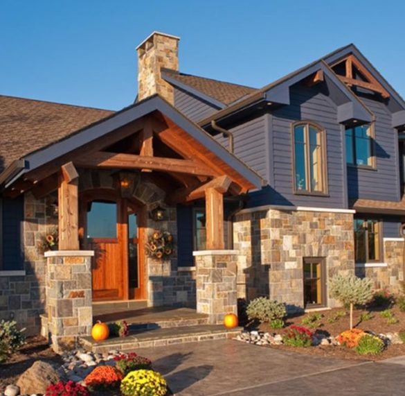 Wood and stone house design decoration for Stone and wood house plans