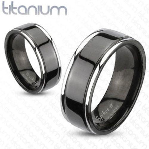 Stunning mm Center Grooved Tone Black IP Wedding Band Solid Titanium Men us Ring